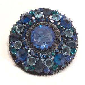 Vintage Rhinestone Brooch - Dark & Light Blue